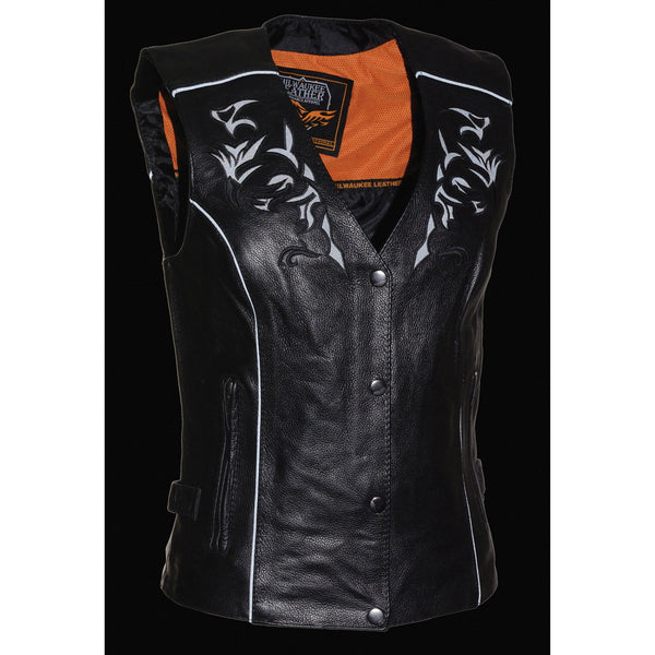 Milwaukee Leather ML1296 Womens Black Leather Vest with Reflective