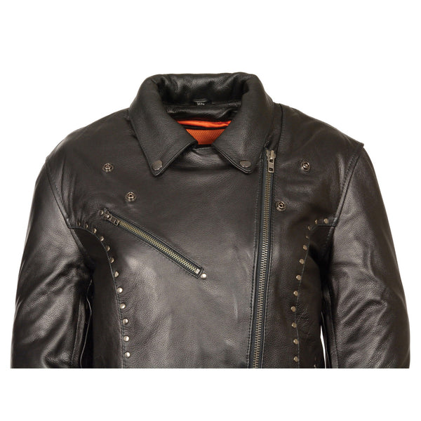Milwaukee Leather ML1948 Women's Classic Riveted Black Leather Jacket