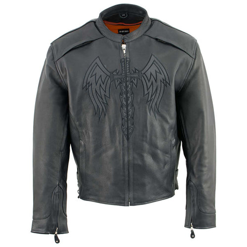 Milwaukee Leather ML2056 Men's 'Cross Sword' Leather Moto Jacket