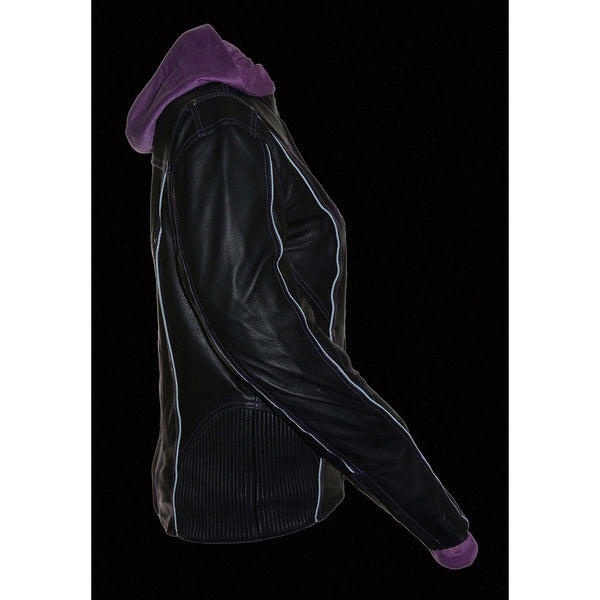 Milwaukee Leather ML2067 Women's 3/4 Black and Purple Leather Hoodie Jacket with Reflective Tribal Design