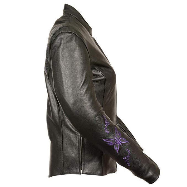Milwaukee Leather ML2071 Women's Black Leather Jacket with Purple Butterfly Design