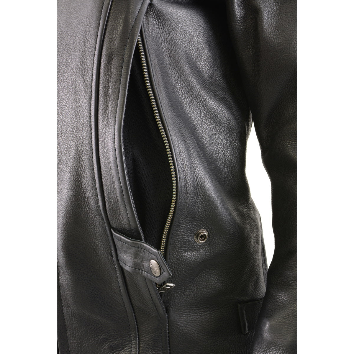 Milwaukee Leather MLL2530 Women's Vented Black Leather Scooter Jacket