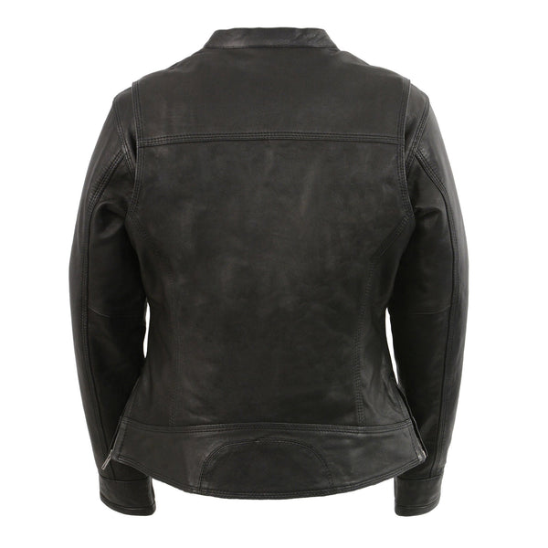 Milwaukee Leather MLL2551 Women's Black Vented Lightweight Leather Triple Stitch Scooter Jacket