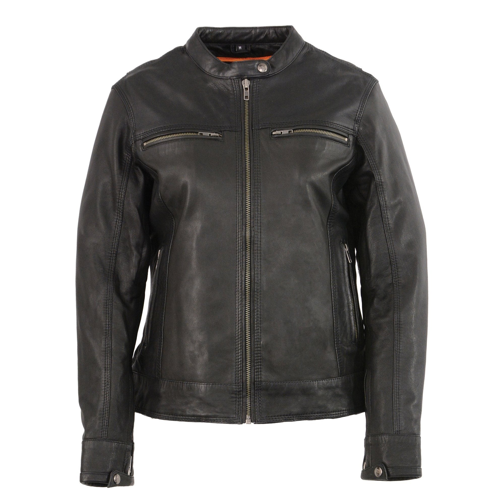 Milwaukee Leather MLL2552 Women's 'Cool-Tec' Black Leather Triple Stitch Scooter Jacket