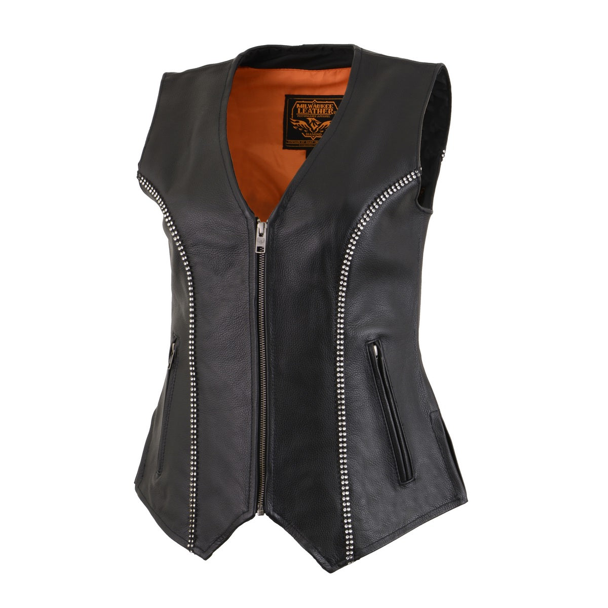 Milwaukee Leather MLL4502 Ladies Leather V Neck Zippered Vest with