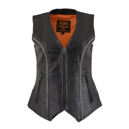 Milwaukee Leather MLL4502 Ladies Leather V Neck Zippered Vest with Rhinestone Bling Detail