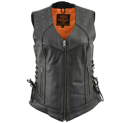 Milwaukee Leather MLL4504 Women's 'Riveted' Black Leather Vest with Side Laces