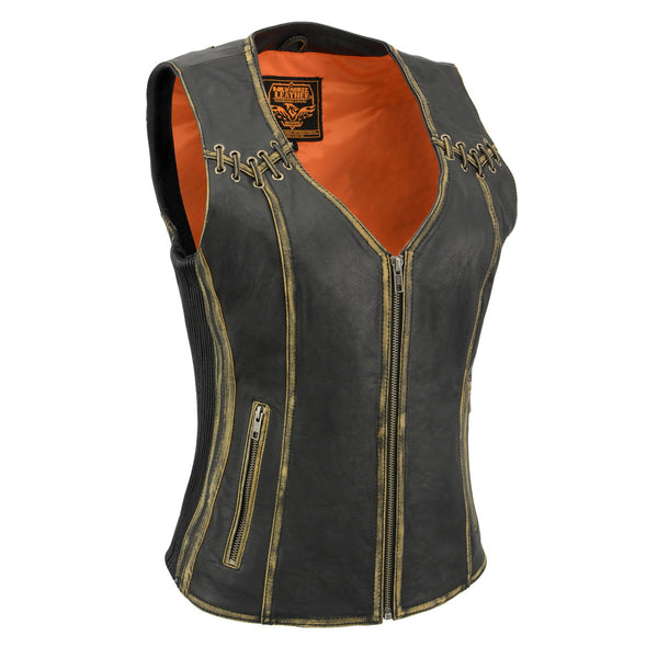 Milwaukee Leather MLL4527 Women's Distressed Brown Leather Vest