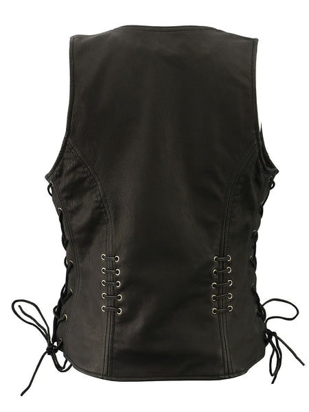 Milwaukee Leather MLL4575 Women's Black Leather Vest with Side Laces