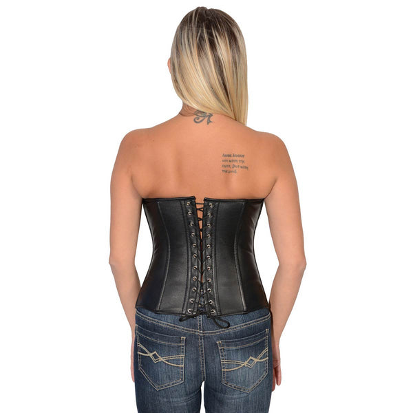 Milwaukee Leather MLL4599 Women's Black Lambskin Leather Zipper Front Corset with Zipper Accents
