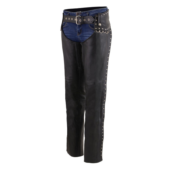 Milwaukee Leather MLL6503 Ladies Black Classic Leather Chaps with Rivet Design