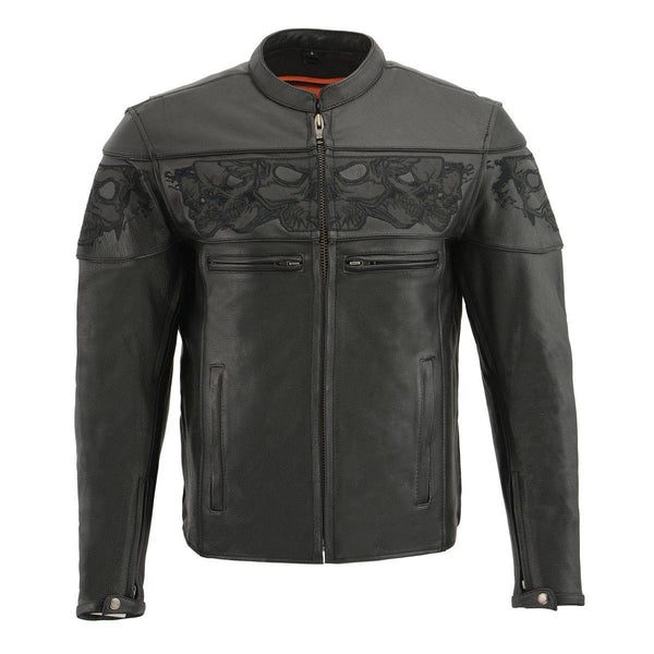 Milwaukee Leather MLM1501 Men's Black 'Cool-Tec' Leather Crossover Scooter Jacket with Reflective Skulls