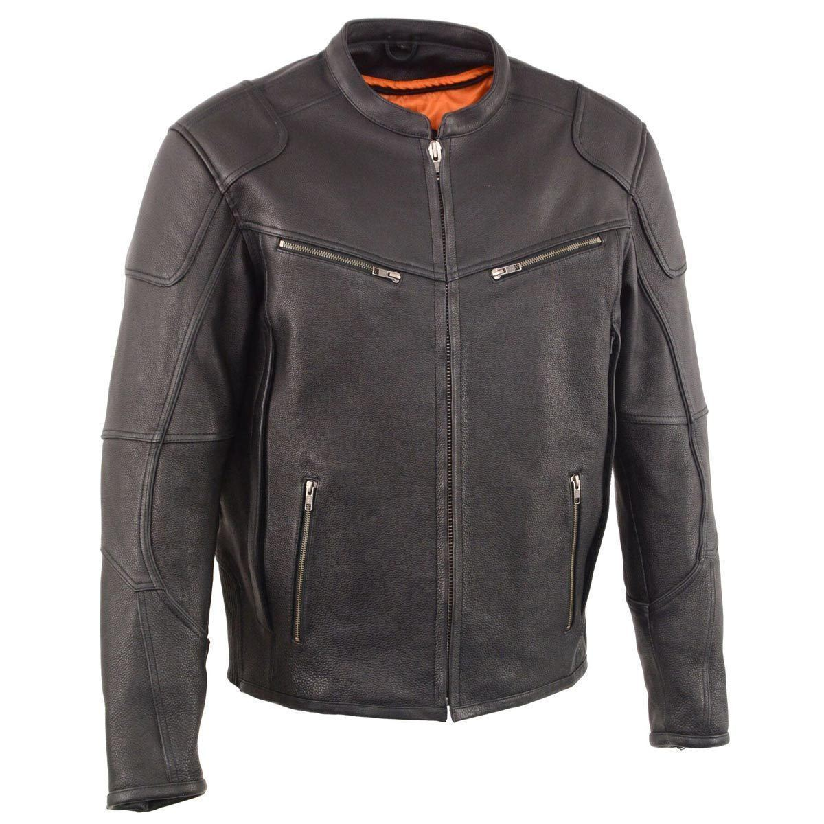 Milwaukee Leather MLM1502 Men's Black Vented Scooter Leather Jacket