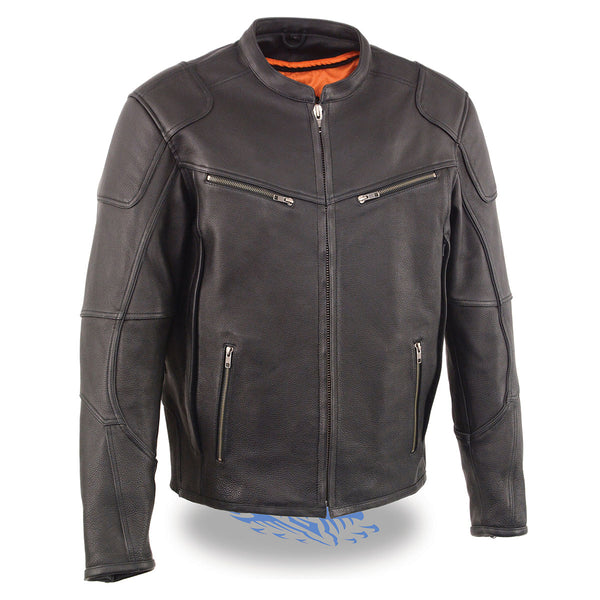 Milwaukee Leather MLM1502 Men's 'Cool-Tec' Black Vented Leather Scooter Jacket with Gun Pockets
