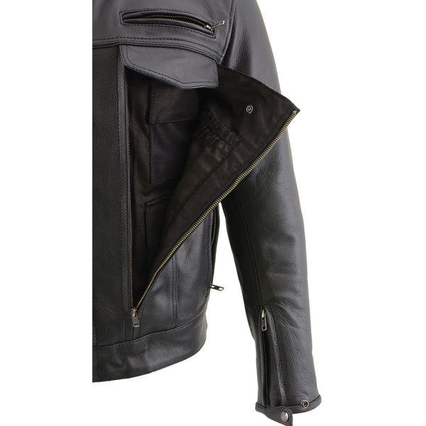 Milwaukee Leather MLM1506 Men's 'Cool-Tec' Black Leather Jacket with Utility Pockets