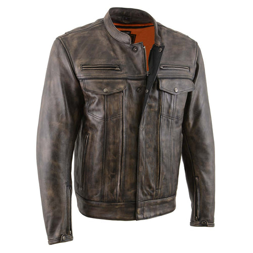 Milwaukee Leather MLM1508 Men's Distress Brown Leather Jacket with Utility Pockets