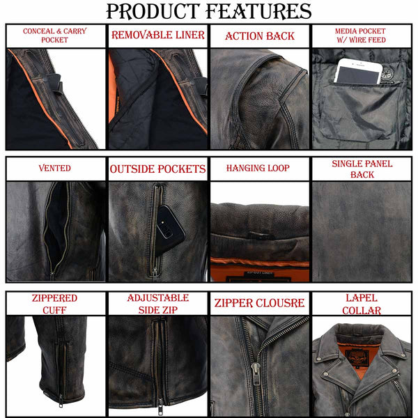 Milwaukee Leather MLM1515 Men's 'Triple Stitched' Beltless Distressed Brown Leather Jacket