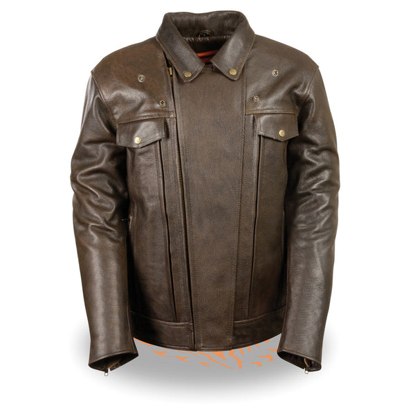 Milwaukee Leather MLM1522 Mens Retro Brown Leather Motorcycle Jacket