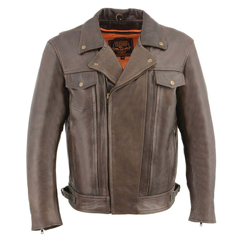 Milwaukee Leather MLM1522 Men's Retro Brown Leather Motorcycle Jacket