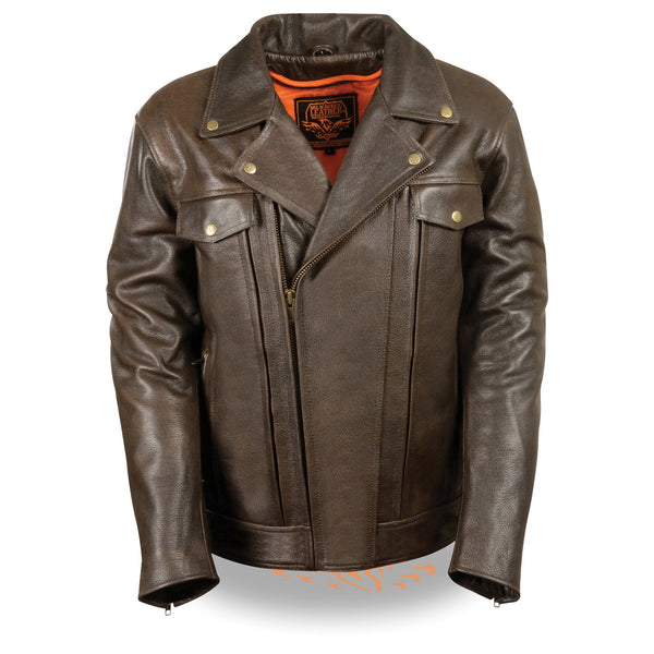 Milwaukee Leather MLM1522 Mens Retro Brown Leather Motorcycle Jacket with Gun Pockets