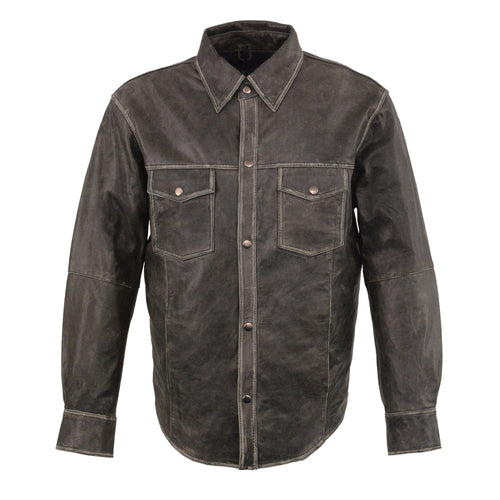 Milwaukee Leather MLM1605 Men's 'Button Down' Distressed Grey Lightweight Leather Shirt