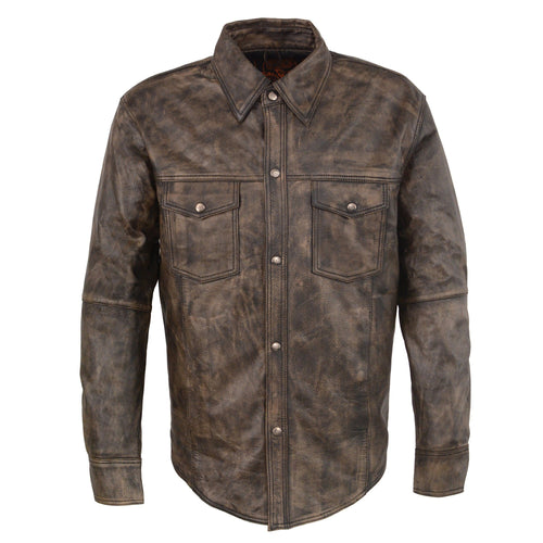 Milwaukee Leather MLM1606 Men's 'Button Down' Distressed Brown Leather Shirt
