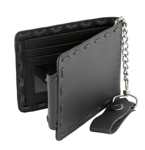 Milwaukee Leather MLW7810 Men's Black Whip Stitch Biker Wallet with Steel Chain