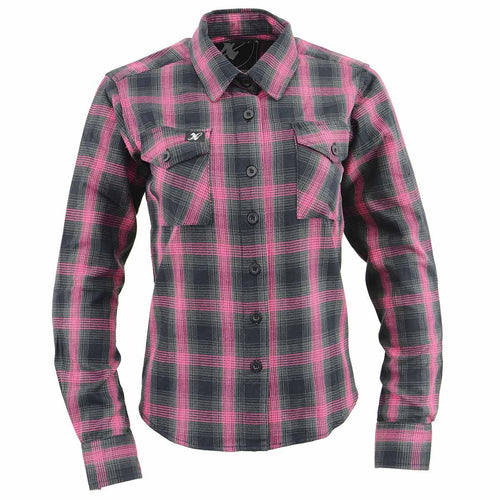 NexGen MNG21604 Ladies Black and Pink Long Sleeve Flannel Shirt