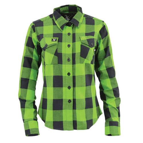 NexGen MNG21606 Lime Green and Black Long Sleeve Cotton Flannel Shirt