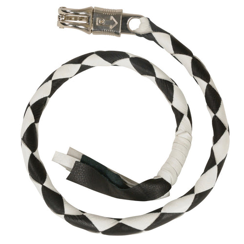 Milwaukee Leather MP7900 Black and White Get Back Motorcycle Whip
