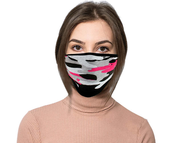 Milwaukee (Multi-Pack) MP7924FM Ladies 'Camouflage Pink' 100 % Cotton Protective Face Mask with Optional Filter Pocket
