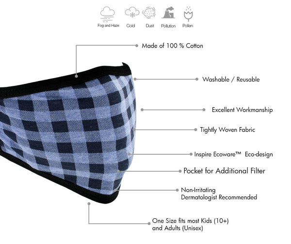 Milwaukee MP7924FM 'Blue Checkered' 100 % Cotton Protective Face Mask with Optional Filter Pocket