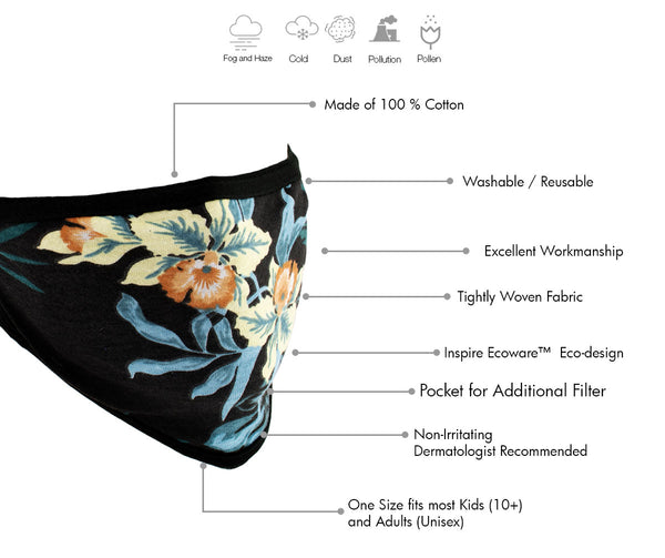 Milwaukee MP7924FM Ladies 'Floral Print' 100 % Cotton Protective Face Mask with Optional Filter Pocket