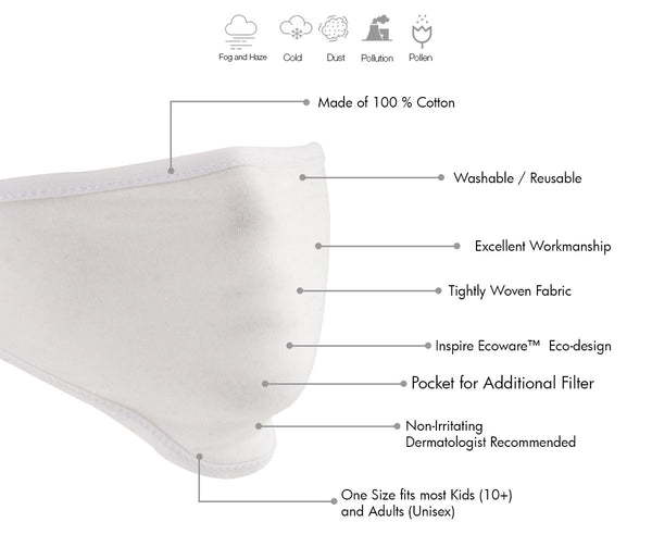 Xelement XS8002 USA Made '100 % Cotton' White Protective Face Mask