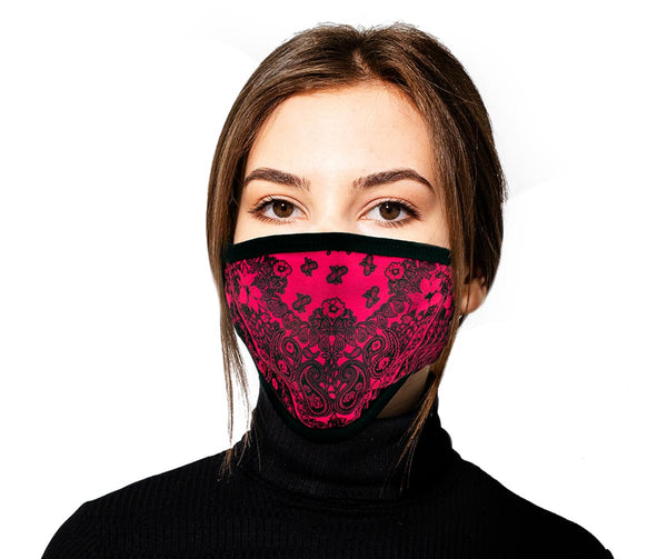 Milwaukee FMD1012 Ladies 'Paisley Pink' 100 % Cotton Protective Face Mask with Optional Filter Pocket