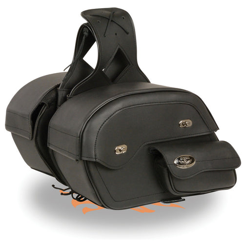 Milwaukee Performance MP8306 Black Large Cruiser Style Slant Throw Over Saddle Bags