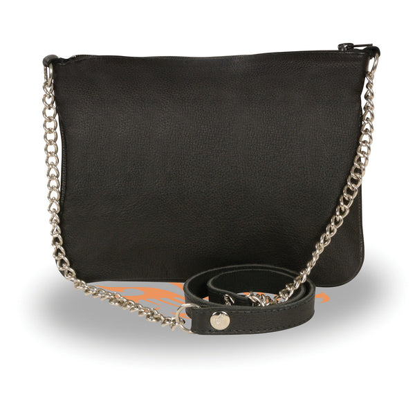 Milwaukee Leather MP8810 Women's Black Chain Strap Riveted Shoulder Bag with Gun Pocket