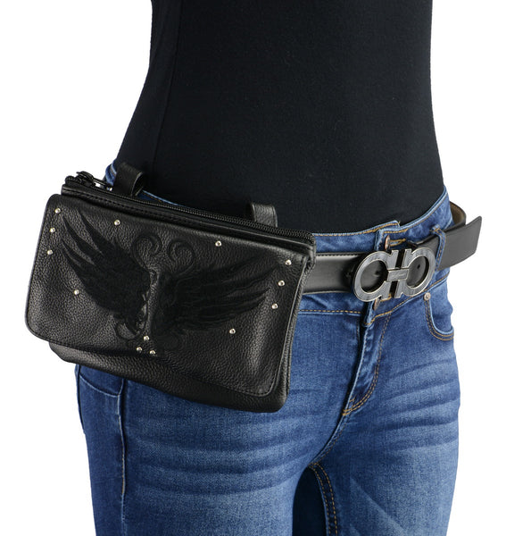 Milwaukee Leather MP8850 Ladies 'Winged' Black Leather Multi Pocket Belt Bag with Gun Holster