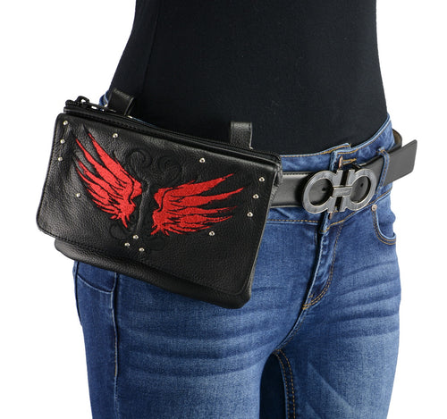 Milwaukee Leather MP8850 Ladies 'Winged' Leather Black and Red Multi Pocket Belt Bag with Gun Holster