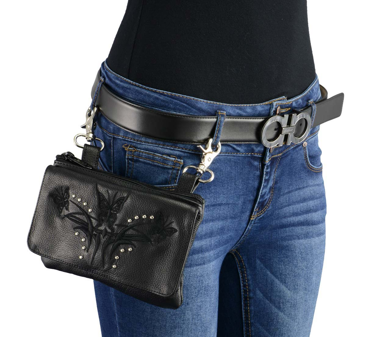 Milwaukee Leather MP8851 Women's Black Leather Multi Pocket Belt Bag
