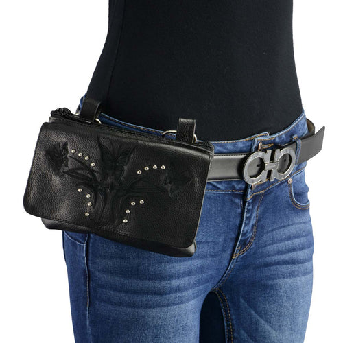 Milwaukee Leather MP8851 Women's Black Leather Multi Pocket Belt Bag with Gun Holster