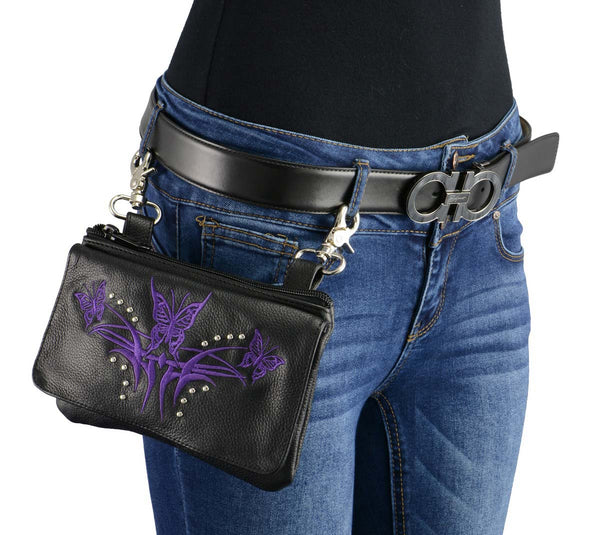 Milwaukee Leather MP8851 Women's Black and Purple Leather Multi Pocket Belt Bag with Gun Holster