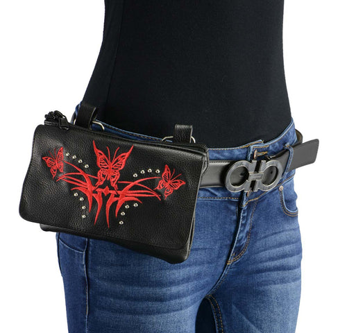 Milwaukee Leather MP8851 Women's Black and Red Leather Multi Pocket Belt Bag with Holster