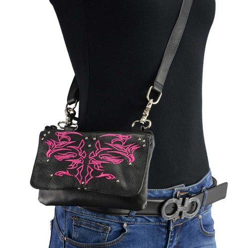 Milwaukee Leather MP8852 Women's Black and Pink Leather Multi Pocket Belt Bag with Holster