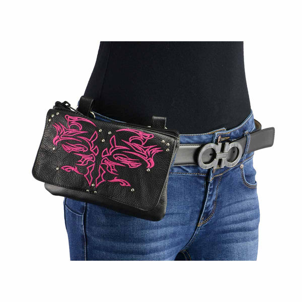 Milwaukee Leather MP8852 Women's Black and Pink Leather Multi Pocket Belt Bag