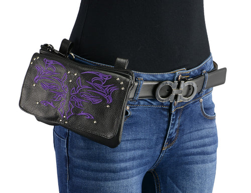 Milwaukee Leather MP8852 Women's Black and Purple Leather Multi Pocket Belt Bag with Holster