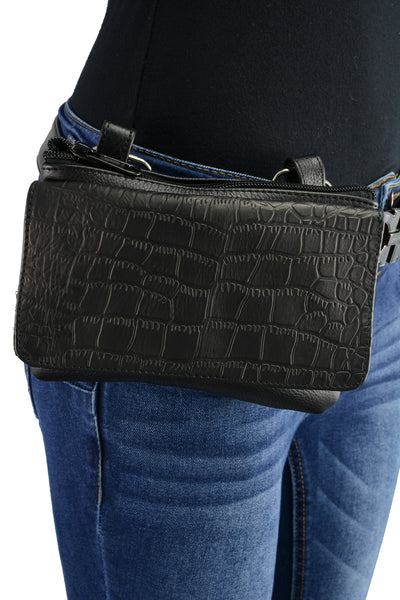 Milwaukee Leather MP8854 Women's Black Leather Multi Pocket Belt Bag with Gun Holster