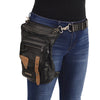 Milwaukee Leather MP8880 Black Conceal and Carry Leather Thigh Bag with Waist Belt