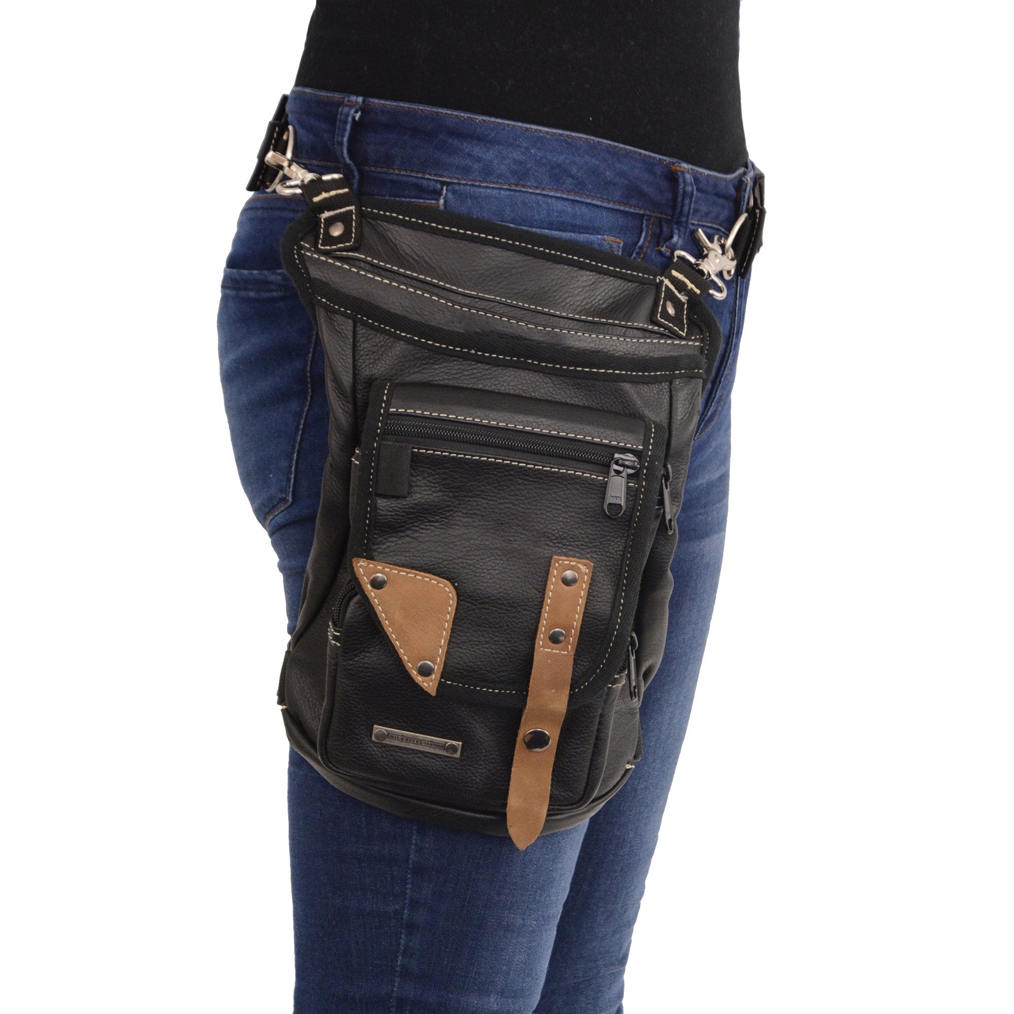 Milwaukee Leather MP8880 Black Conceal and Carry Leather Thigh Bag
