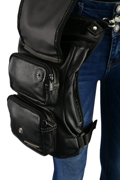 Milwaukee Leather MP8897 Conceal and Carry Black and Tan Leather Thigh